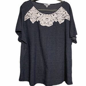Dark Navy Shirt with White Stripes and Beautiful Lace Detail